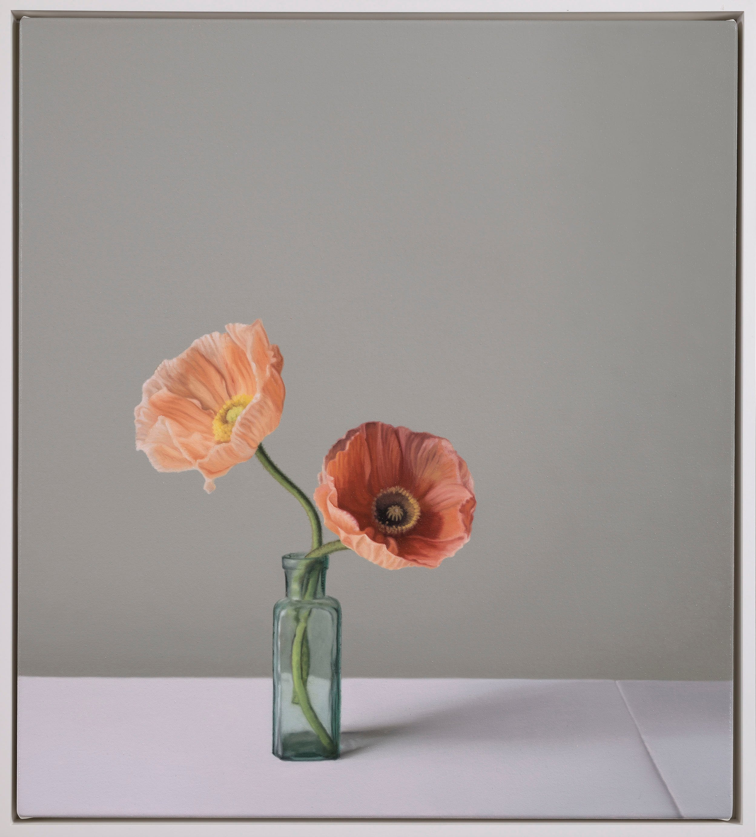 Still Life with Glass Bottles and Icelandic Poppies