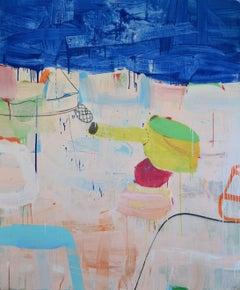Mixed media painting, Gary Komarin, A Suite of Blue Sea Cap, Ferrat