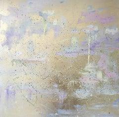 Gold leaf oil painting, Michelle Sakhai, Coexist Part I