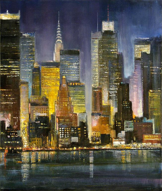 Lawrence Kelsey New York Lights Painting For Sale At