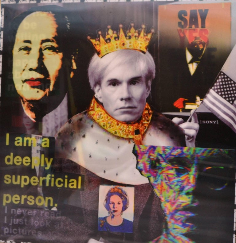 'King Warhol' by DJ Leon, 2014. The piece measures 24 x 24 inches, Ed. of 10.    DJ Leon uses a combination of collage, photography and text to make complex compositions on diverse subjects, from pop culture to art history. Each thematic work is an