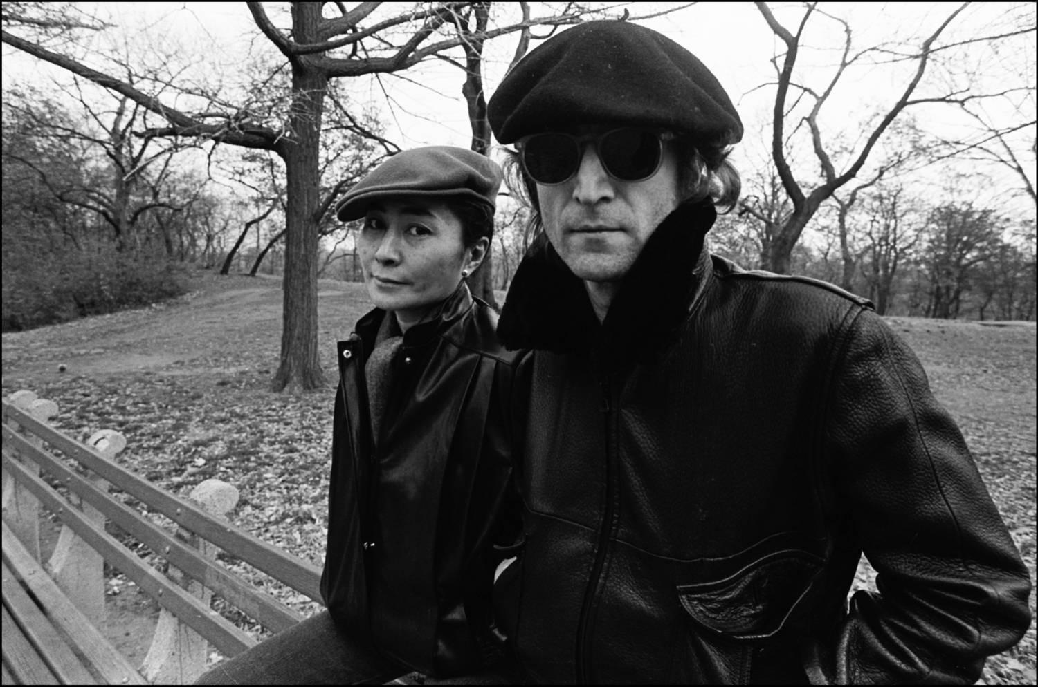 John and Yoko on a bench in Central Park, 1980