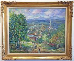 Post Impressionist landscape painting by Bela Mayer Reminiscences of Hungary