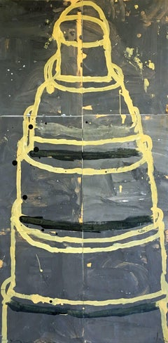 Mixed media painting of cake, Gary Komarin, Cake (Yellow on Grey)