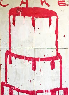 Mixed media painting of cake, Gary Komarin, Cake (Raspberry on White)