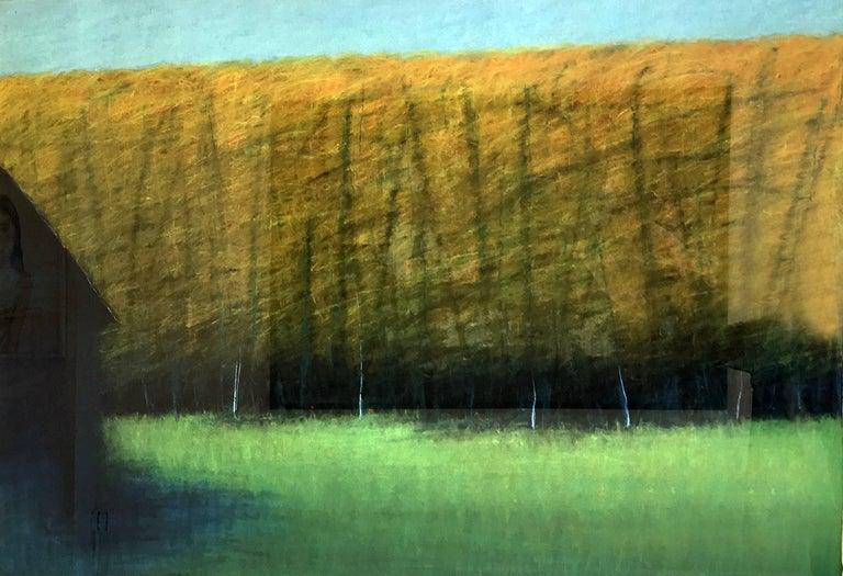 Ted Larsen Landscape Painting - Blue Barn
