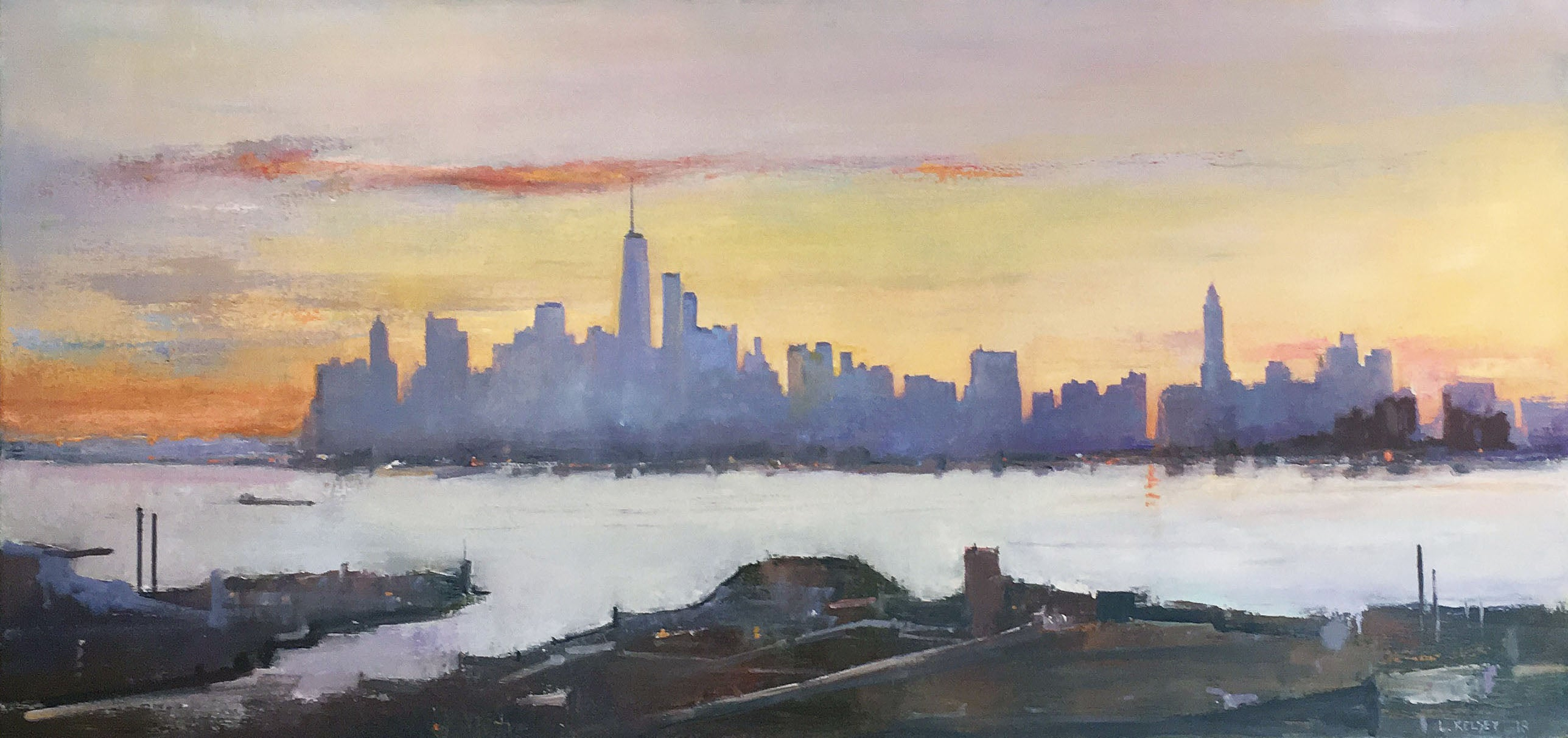 Lawrence Kelsey - New York, From Brooklyn Heights, Painting For Sale ...