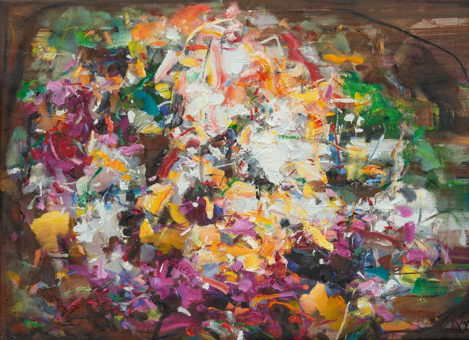 Abstract expressionist oil painting, Yangyang Pan, Blooming Hill