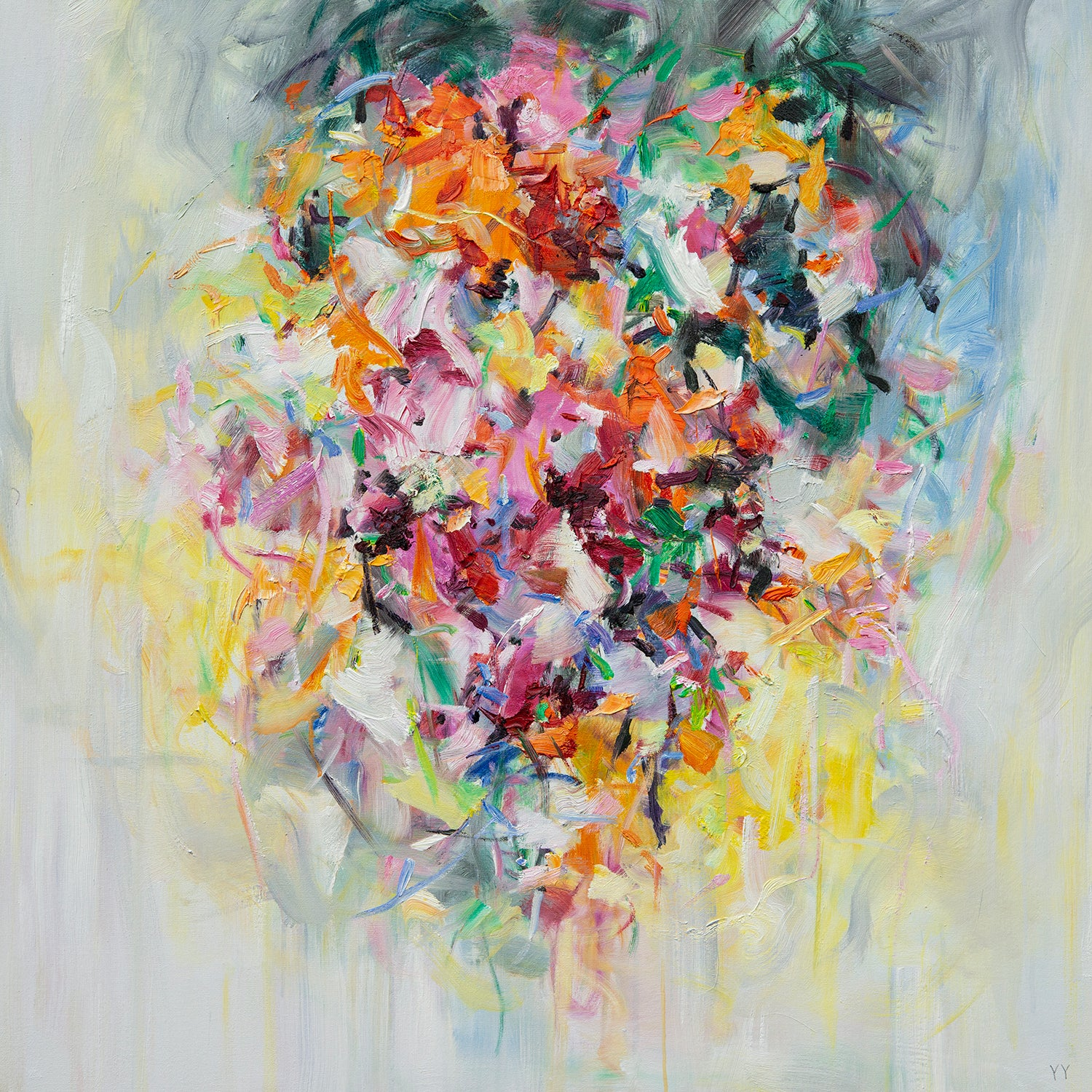 Abstract expressionist oil painting, Yangyang Pan, Flowers on the Wall