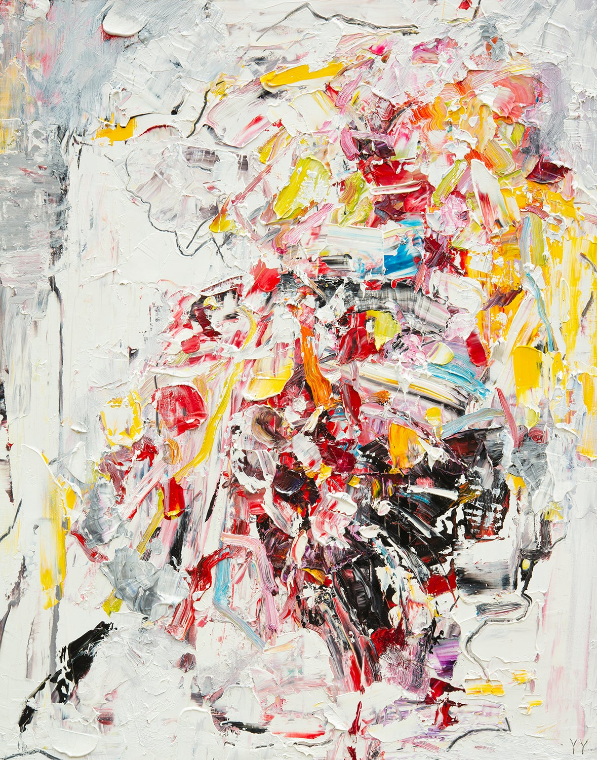 Abstract expressionist oil painting, Yangyang Pan, Let Go