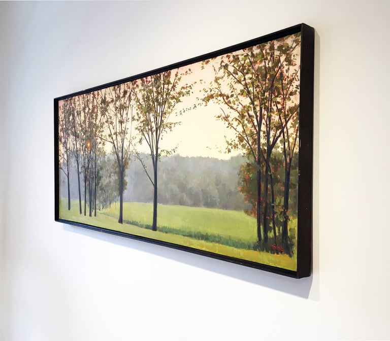 Hazy Woodstock - Brown Landscape Painting by Elissa Gore