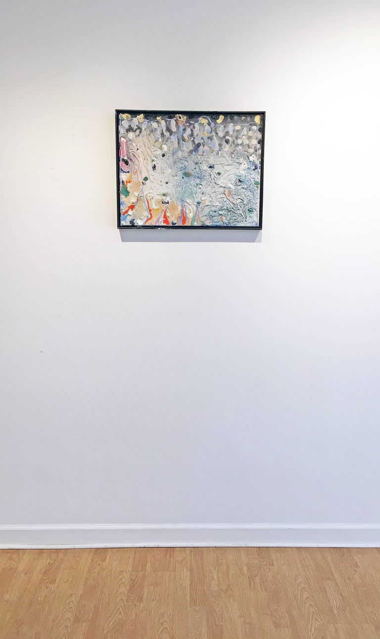 'Council Among Shadows' by Stanley Boxer, 1989. Oil and mixed media on canvas, 19 x 25 inches. This mixed media work has an active surface that is thickly painted with defined brush strokes in a color palette of pink, light blue, orange, beige,