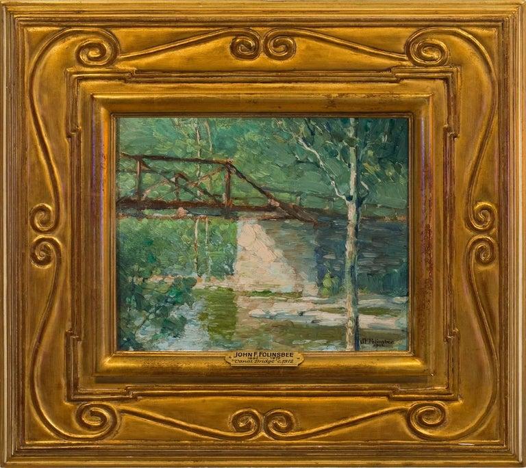 "John Fulton Folinsbee Landscape Painting - ""Canal Bridge"""