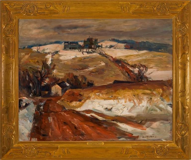 "John Fulton Folinsbee Landscape Painting - ""Melting Snow, Bucks County"""