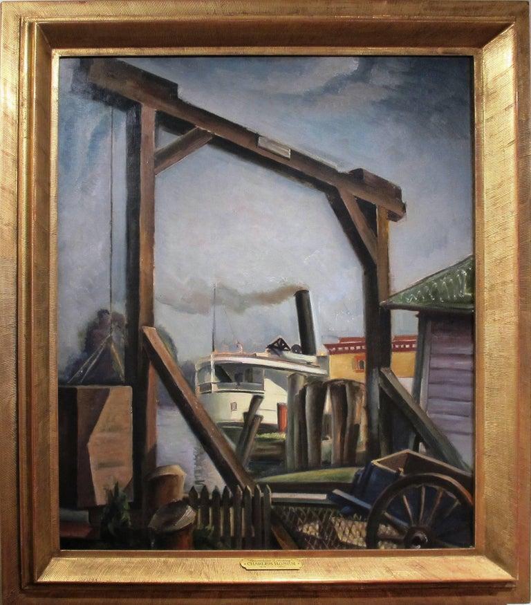 """Charles Rosen Landscape Painting - """"Steamboat Landing"""""""