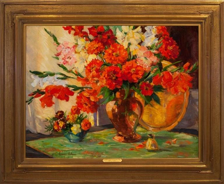 Constance Cochrane Quot Scarlet Zinnias And Gladiolus