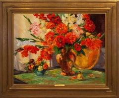 """Scarlet Zinnias & Gladiolus"""