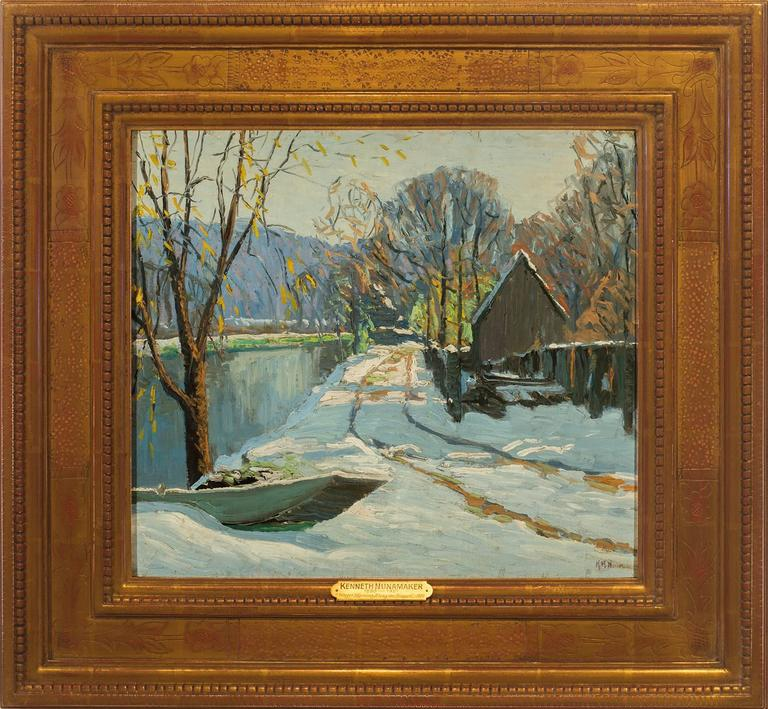 "Kenneth R. Nunamaker Landscape Painting - ""Winter Morning Along the Towpath"""