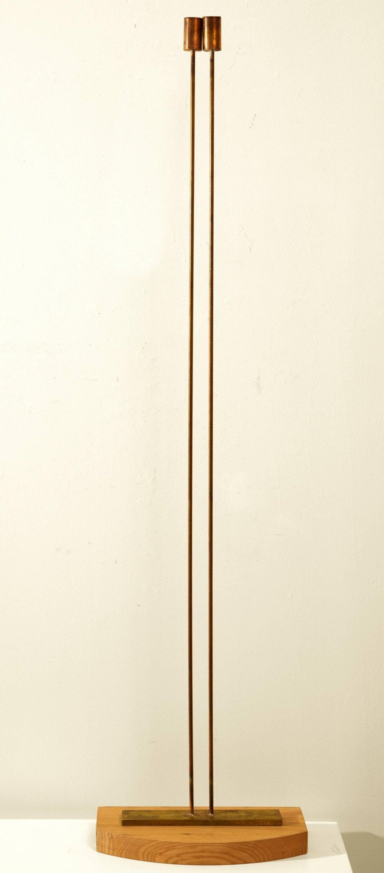 Val Bertoia Abstract Sculpture - 2 Rods on Wooden Base