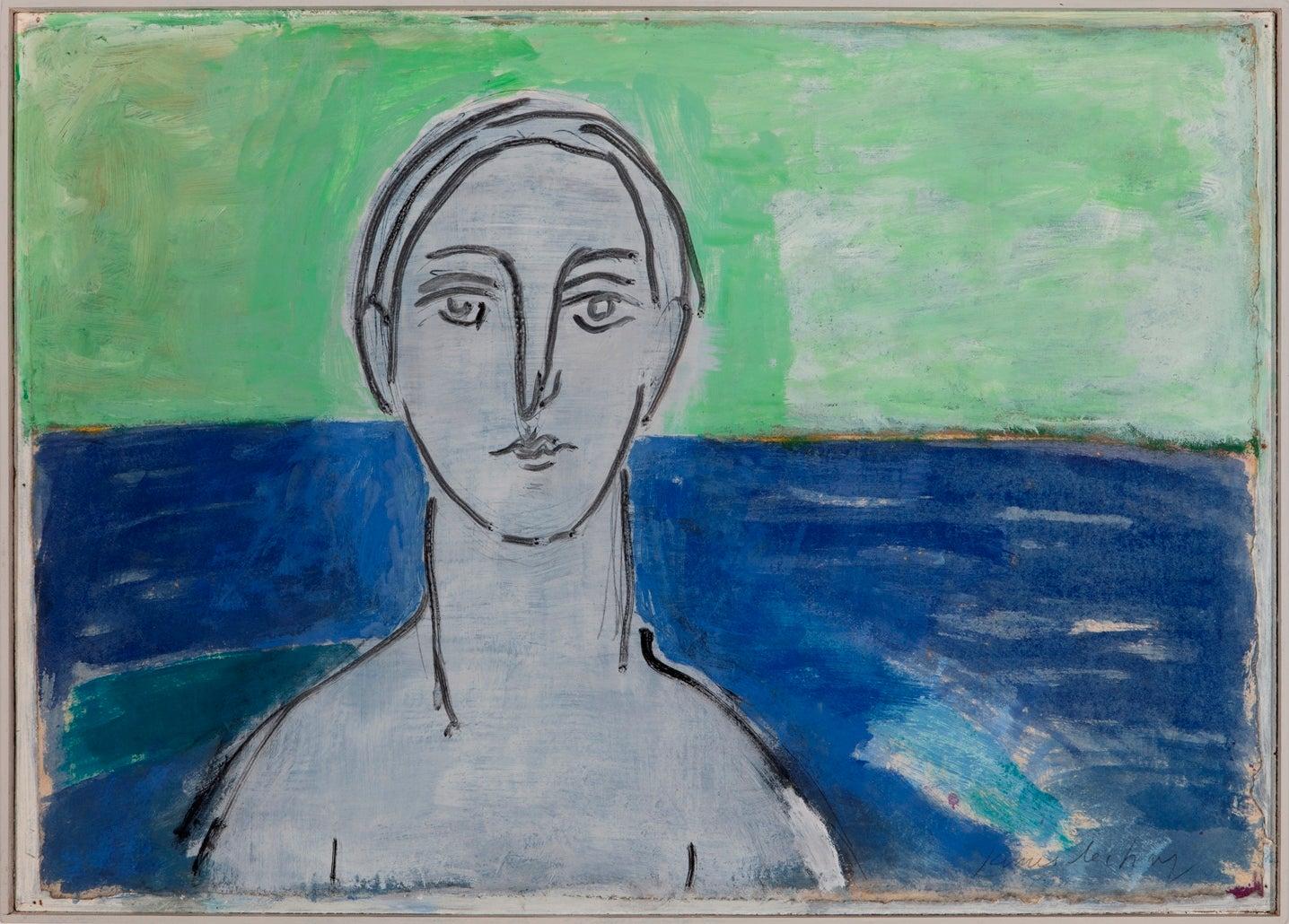 """Aegean Seascape with Figure"""
