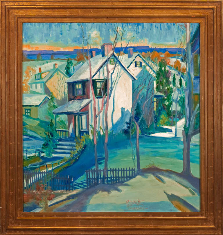 "Joseph Barrett Landscape Painting - ""Snowbound Village"""