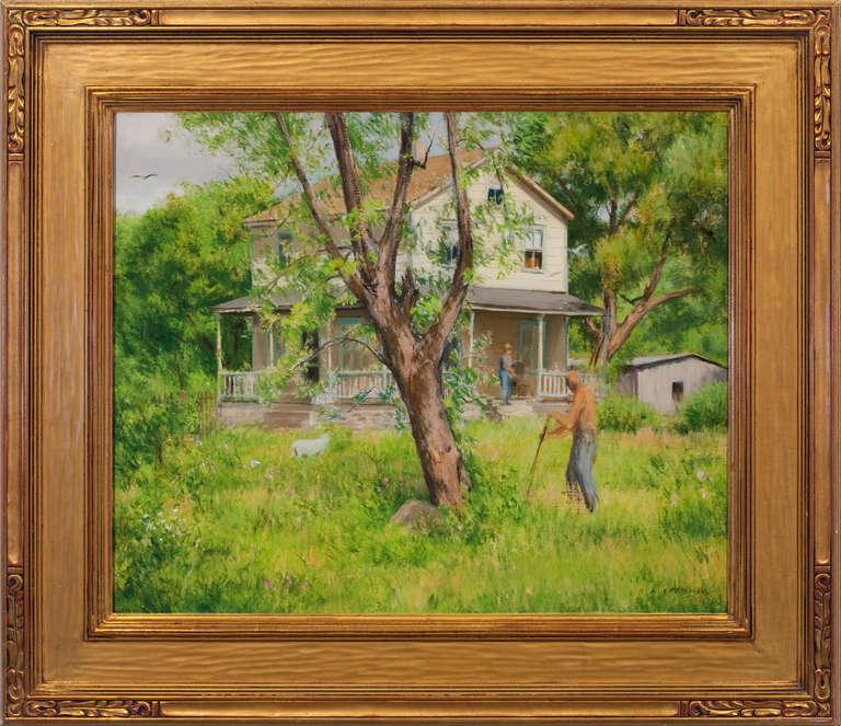 "Alexander Farnham Landscape Painting - ""Yard Work, Stockton, NJ"""