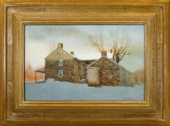 """Stone Farm House in Snow"""