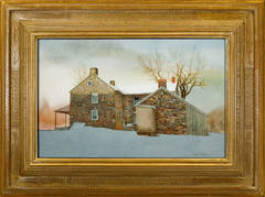 """Stone Farm House in Snow"""