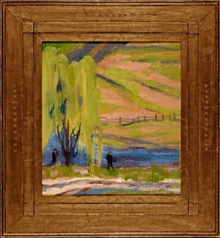 "Joseph Barrett Landscape Painting - ""Under the Willow"""