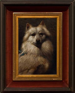 Victorian Portrait of a Dog with Bow