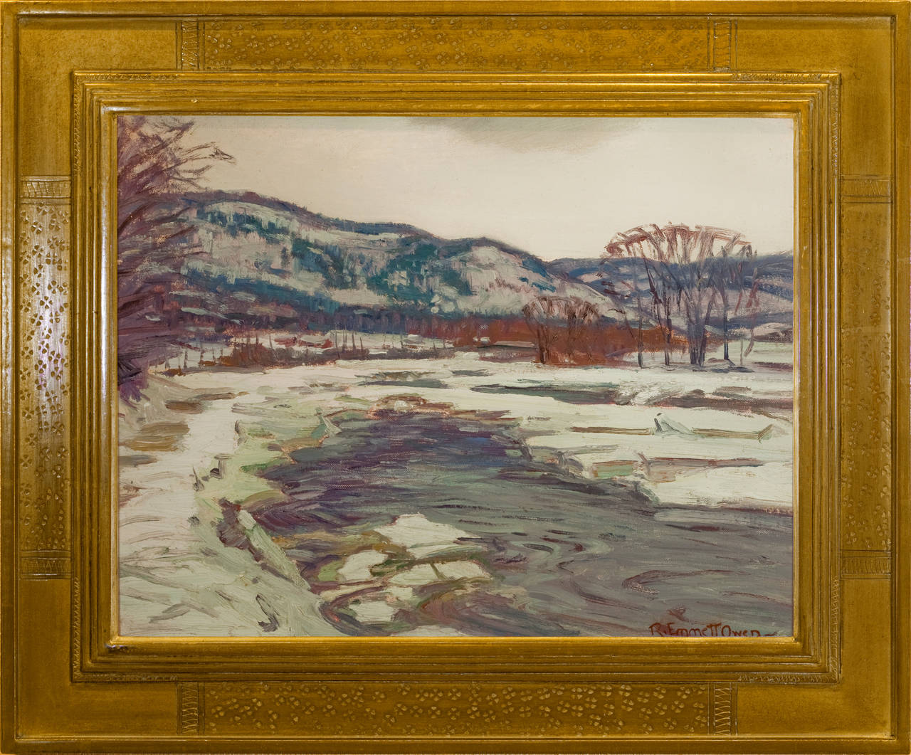 """Ice Bound River, Deerfield, Connecticut"""