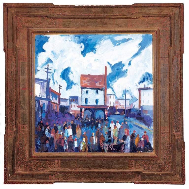 "Joseph Barrett Figurative Painting - ""Little House Lambertville, Public Sale"""