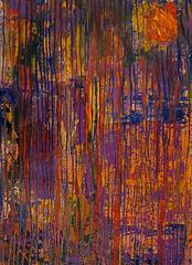 Composition in Purple / oil and metal leaf