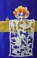 Gone / cobalt blue watercolor lace, floral. silver