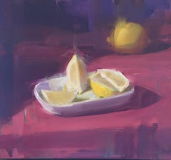 Lemons / purple and yellow still life