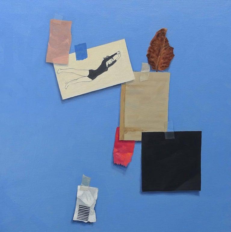Willard Dixon Figurative Painting - Black Square / yoga - oil on cancas