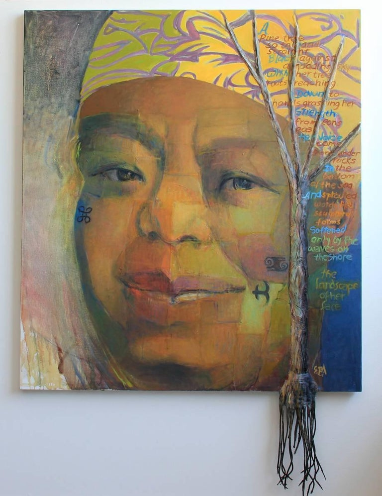 Elaine Badgley Arnoux Portrait Painting - Portrait of Maya Angelou by important late career artist Badgley Arnoux