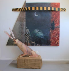 Fables No. 1: Silk and Steel series - mixed media painting and sculpture