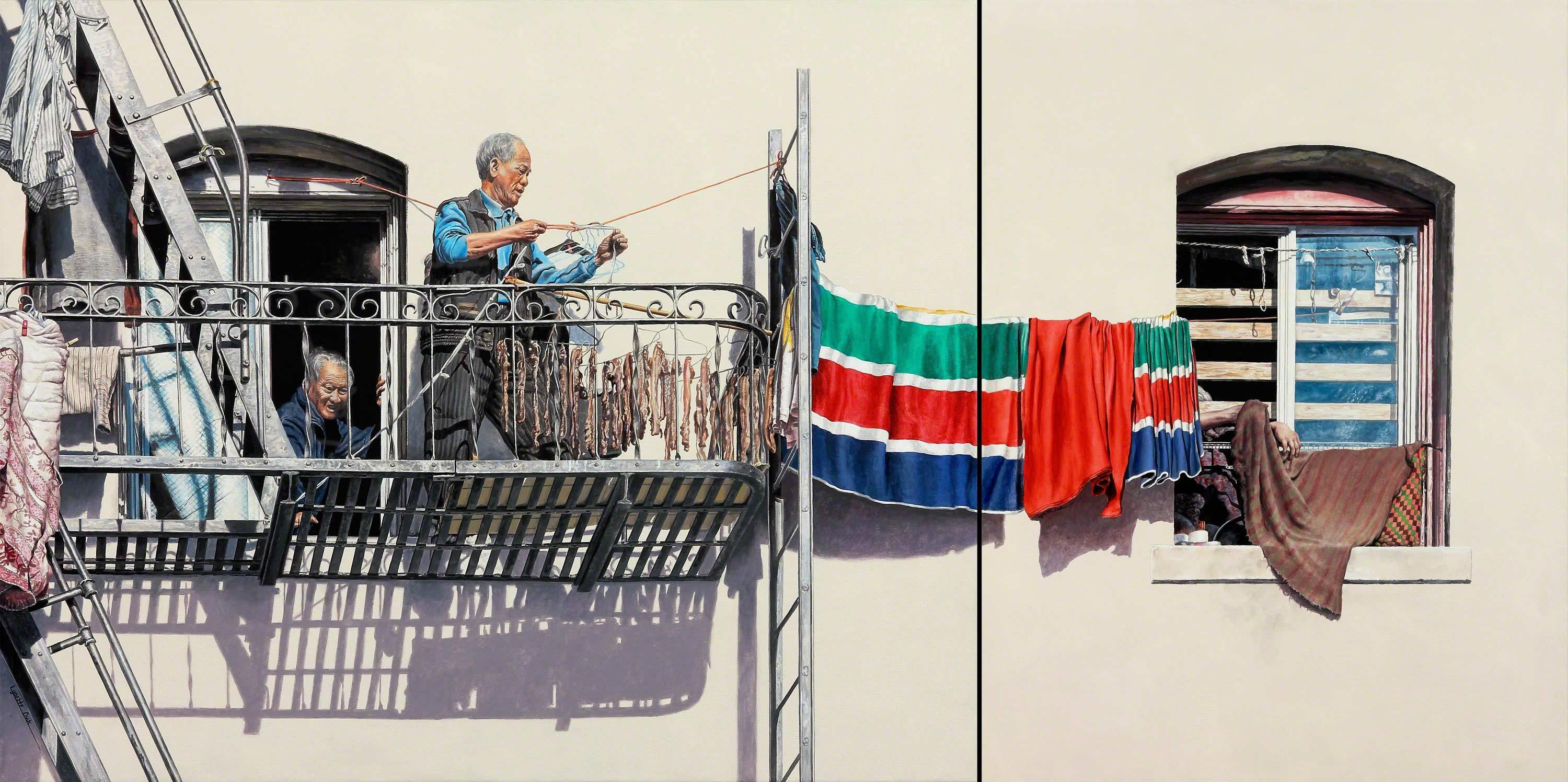 Rigging the Line / figurative realism Chinatown hyperreal painting