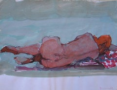 Feet Up / nude - mixed media acrylic on paper