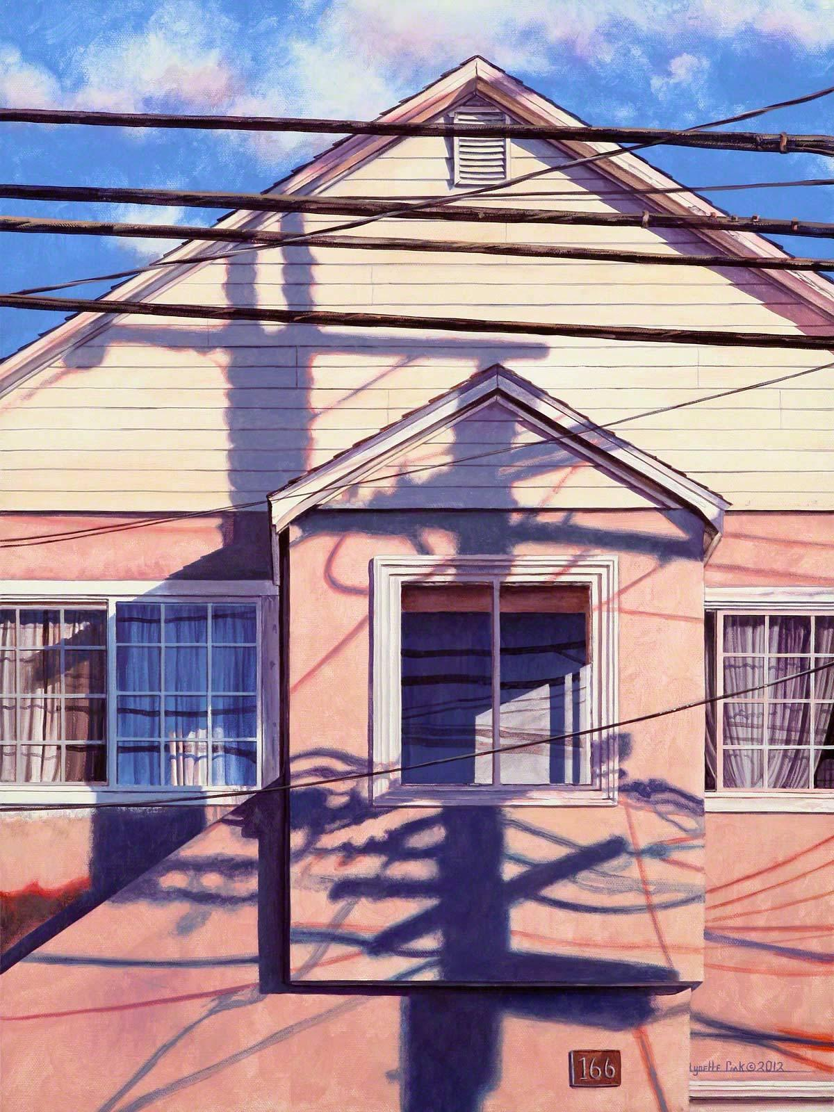 NEXUS / realism hyperreal acrylic painting - home, pink house