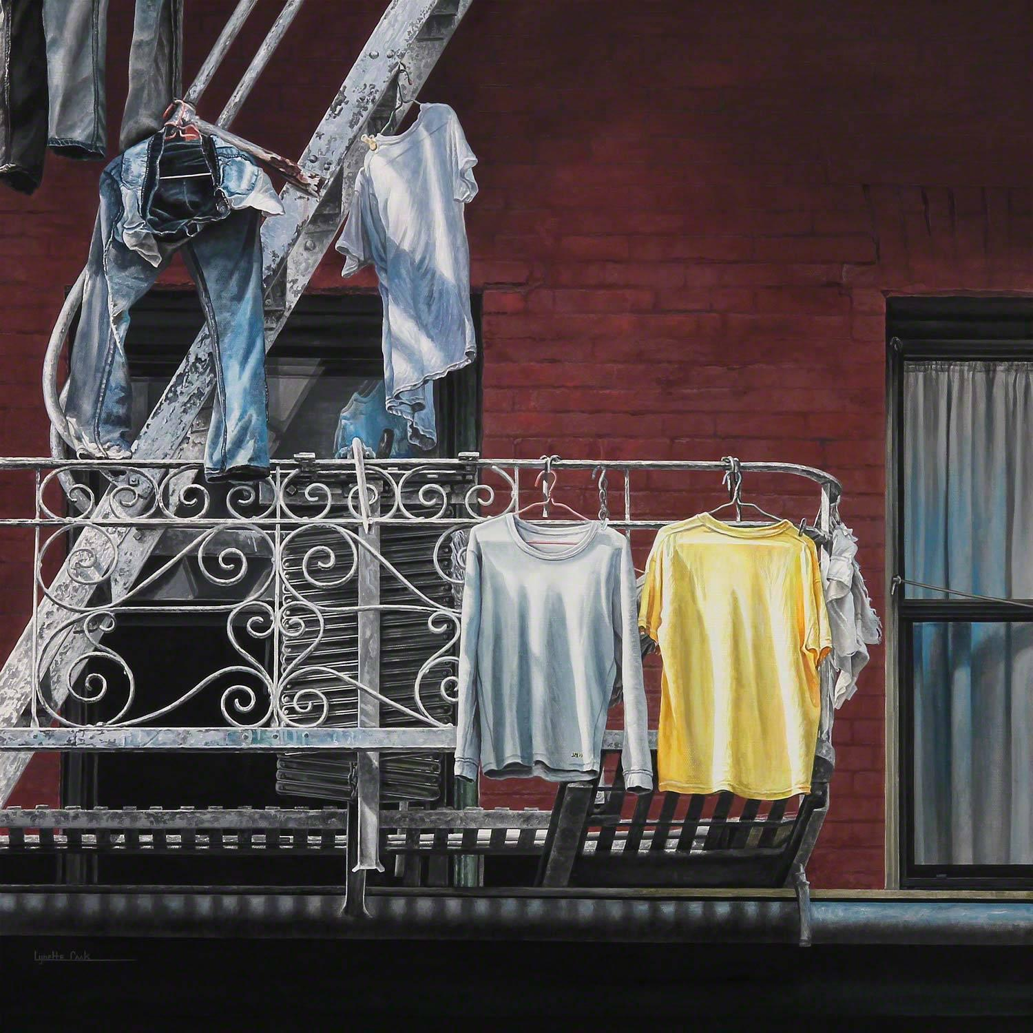 Twosome / acrylic painting blue jeans and t shirts