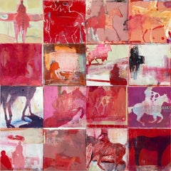 Reds In Overdrive: Horse Grid / original large acrylic painting