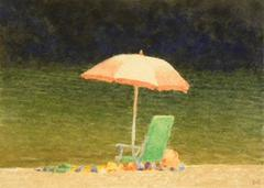 Pink Umbrella. Green Chair