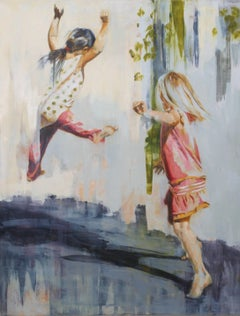 Aspire / girls at play - oil on canvas
