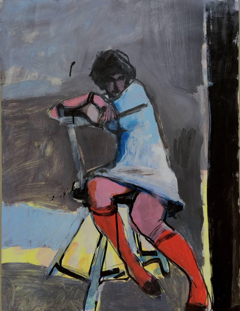 Kim Frohsin Figurative Painting - Merav: Red Stockings