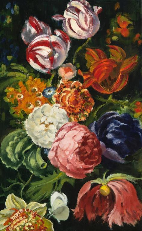 Rachel Redux II / floral oil painting on wood