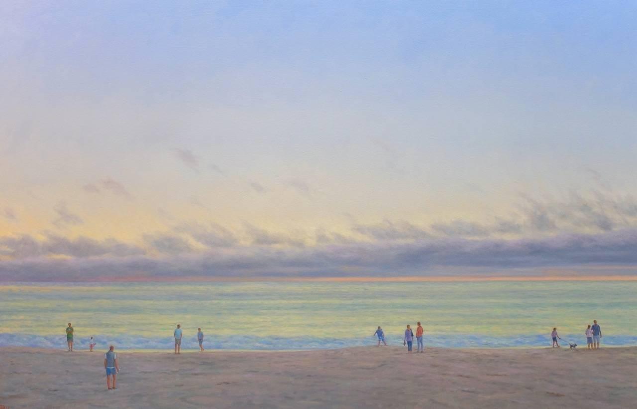 Evening Beach III / oil on canvas - family beach ocean figurative realism
