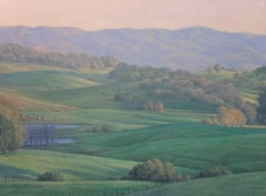 Spring Field / oil on canvas contemporary realism landscape - green ligjht