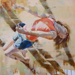 Long Summer Shadow / girl swinging - oil painting